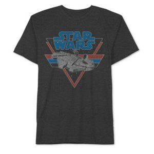 NEW STAR WARS Mens Millennium Falcon Graphic Cotton Poly Short Sleeve Tee Gray